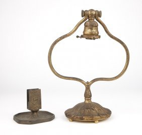 A Tiffany Studios Lamp And Zodiac Match Holder