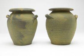 Pair Of Weller Hand-thrown ''fleron'' Studio Pots