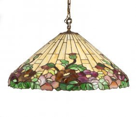 A Leaded Glass Hanging Fixture, Manner Of Tiffany