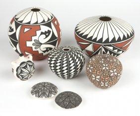 Group Of 7 Acoma & Jemez Pueblo Pottery Vessels