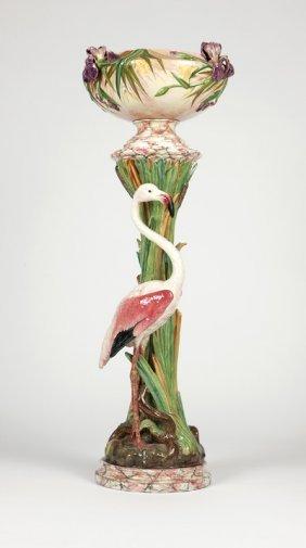 A Delphin Massier Flamingo Pedestal Jardiniere
