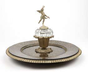 Brass-inlaid & Cut-crystal Boulle-style Inkstand