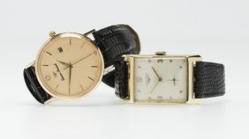 Two Strapped Watches, Longines And Lucien Picard