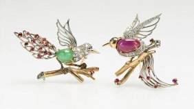Two French Diamond And Gem-set Bird Brooches