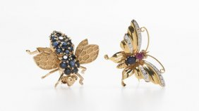 Two Gem-set And Gold Insect Brooches