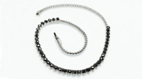 A Rose-cut Black Diamond And White Gold Necklace