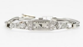 A Diamond And Platinum Ladies Cocktail Wristwatch