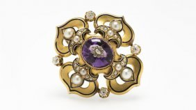 An Antique Amethyst, Pearl & Gold Pendant-brooch