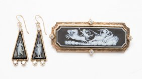 A Sardonyx Cameo, Diamond And Gold Jewelry Set