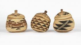 Three Hupa / Yurok Twined Trinket Baskets