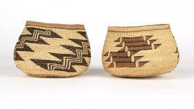 Two Hupa / Yurok Polychrome Twined Baskets