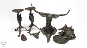 Group Of Western Bronzes And Candlesticks