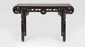 A Chinese Export Carved Hardwood Altar Table