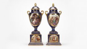 Pair Of Royal Vienna-style Miniature Lidded Urns