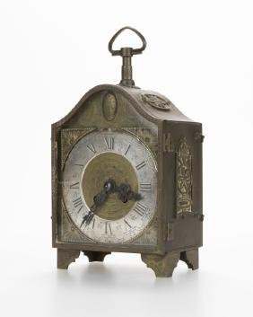 A Swiss Engraved Bronze Carriage Clock