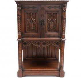 Carved Gothic Revival Oak Cabinet