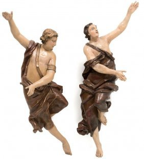Pair Of Italian Polychrome And Parcel Gilt Figures Of