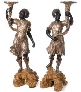 Pair Of Venetian Parcel Gilt, Polychrome-decorated And