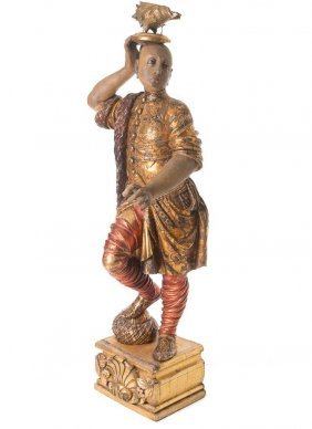Italian Polychrome-painted And Parcel Gilt Figure Of A