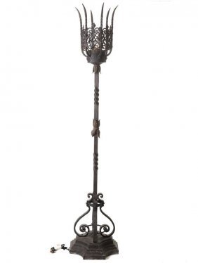 French Gothic Style Iron Floor Lamp