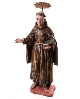 Carved And Polychrome Figure Of St. Anthony