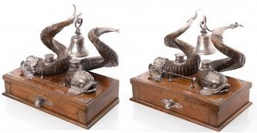 19th Century Pair Of Rams Horn & Silverplate Dolphin