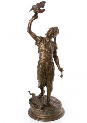 French Bronze Of Arab Falconer After P.j. Mene