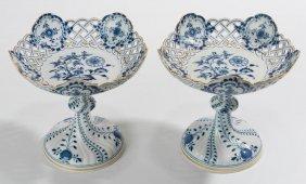 """Pair Meissen """"blue Onion"""" Pedestaled Compotes"""
