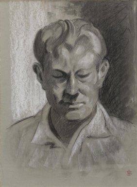 Olin Travis (1888-1975), Portrait, Conte Crayon
