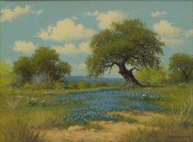 G. Harvey (b. 1933), Bluebonnets, Oil On Canvas