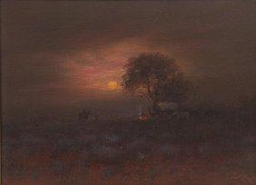 """Carl J. Smith (b. 1928), """"moon Over Texas"""", Oil"""