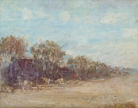 "Ira Mcdade (1867-1951), ""the Old Farm"", Oil On Board"