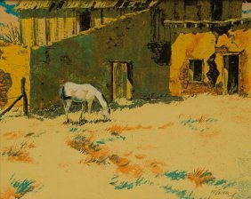 H. C. Zachry, Adobe Corral, Oil On Board
