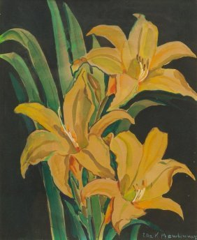Ella K. Mewhinney (1891-1975), Lilies, Watercolor