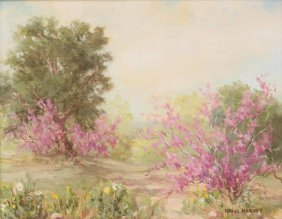 "Hazel Massey (1907-1990), ""red Bud"", Oil On Canvasboard"