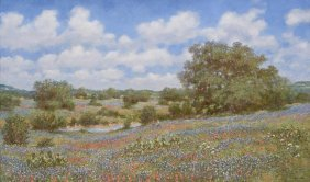 "Robert Hamman, ""bluebonnet-playground"", Oil On Canvas"