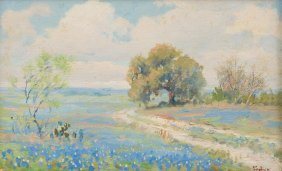 Porfirio Salinas (1910-1973), Early Bluebonnets, Oil