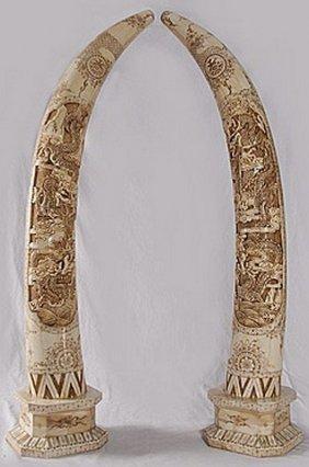 """Stunning Rare Chinese Ornate""""bone Tusk"""" Pair"""