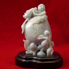 Huge Greenish And Lavender Chinese Jadeite Carving 19th