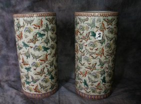 Pair Of Chinese Famille Porcelain Umbrella Stan Qing