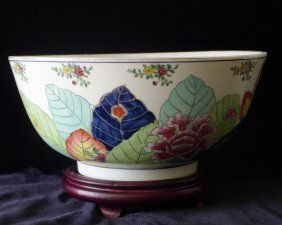 Huge Chinese Famille Rose Porcelain Bowl Roc