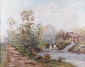 Maud Webb Landscape & Mill Oil On Canvas