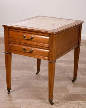 Marble Top Two Drawer Side Table