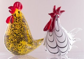 Murano Style Art Glass Roosters, Pair