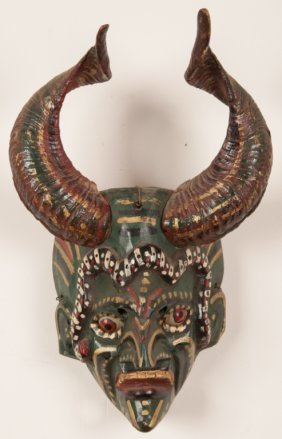 Mexican Horned Tribal Mask