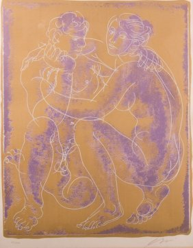 "Hans Erni ""couple Discutant"" Signed Lithograph"