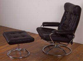 Plycraft Leather Armchair & Ottoman