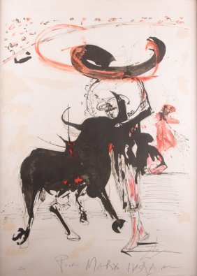 "Salvador Dali Signed Litho ""bullfight #2"""