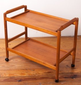 Teak Two-tier Tea Trolley