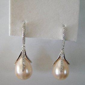 Tear Drop Swarovski Pearl Earrings 13.8 Mm 18k W/g Ove